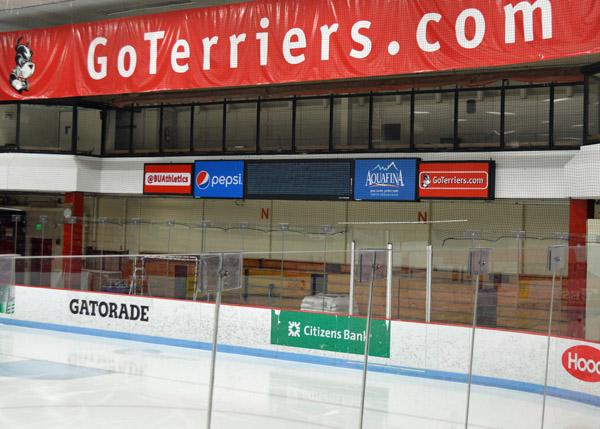 BU Walter Brown Arena Press Box ad signs
