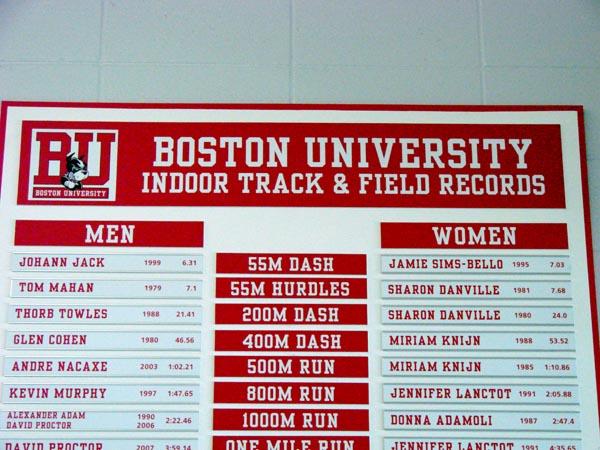 BU Track and Field record board header