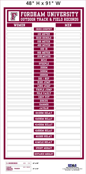 Fordham Track & Field Outdoor Record Board proof