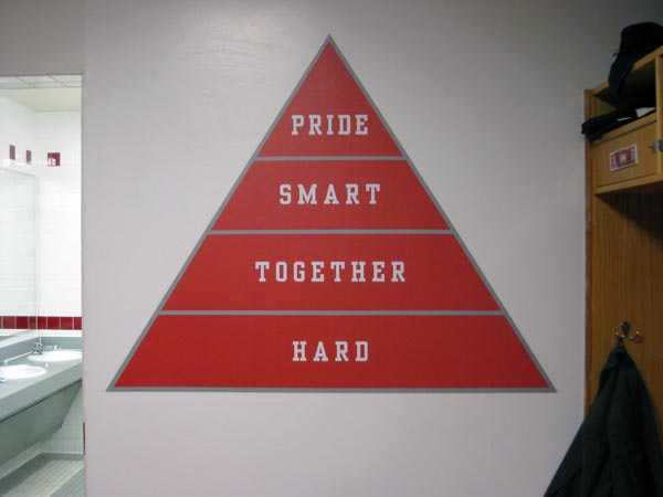 BU Men's Basketball Locker Room Triangle