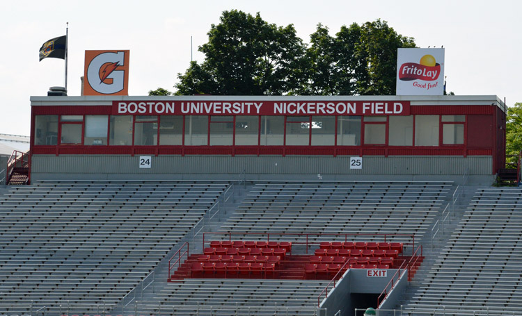 Boston University Nickerson Field pressbox 2014 ad signs
