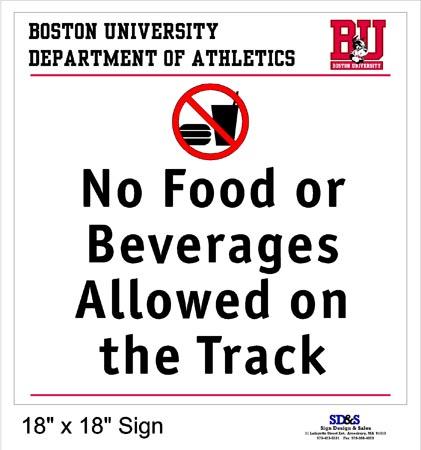 BU No Food on Track Sign Proof
