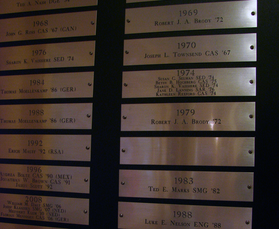 BU Rowing plaque plates